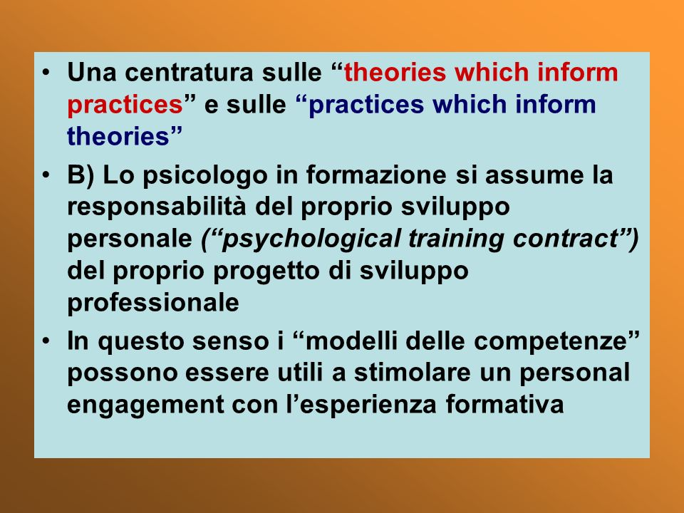 Una centratura sulle theories which inform practices e sulle practices which inform theories