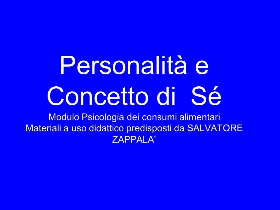 Personalità e Concetto di Sé Modulo Psicologia dei consumi alimentari Materiali a uso didattico predisposti da SALVATORE ZAPPALA'