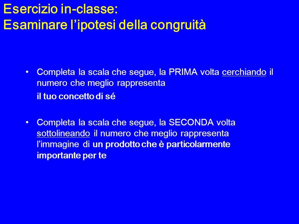 Esercizio in-classe: Esaminare l'ipotesi della congruità