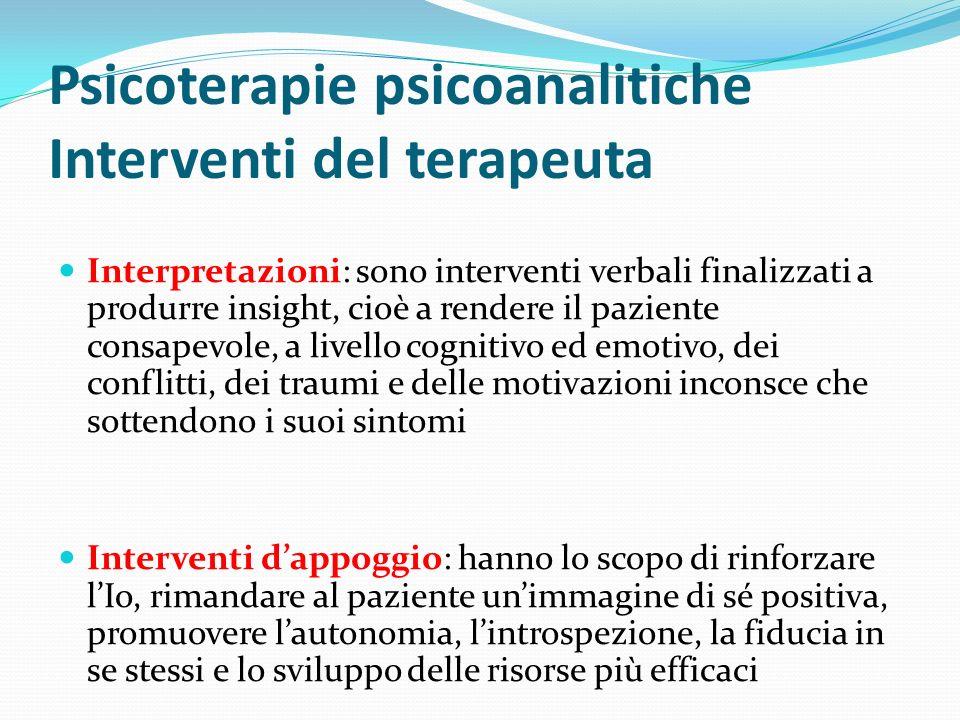 Psicoterapie psicoanalitiche Interventi del terapeuta