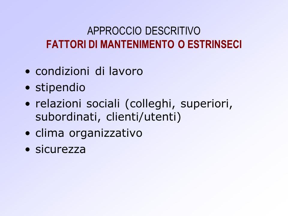 APPROCCIO DESCRITIVO FATTORI DI MANTENIMENTO O ESTRINSECI