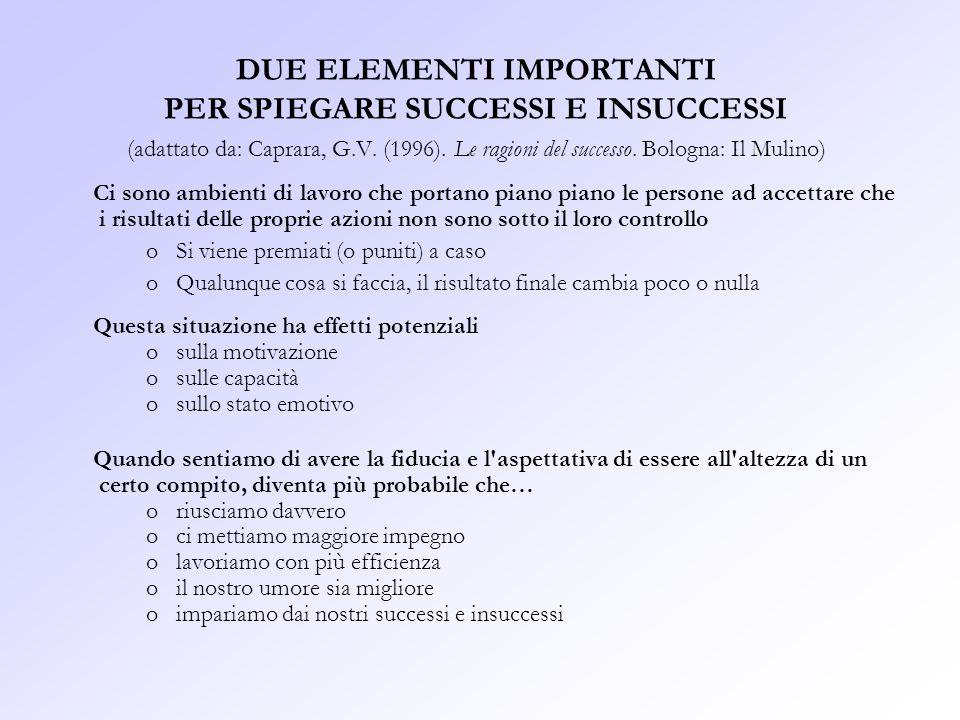 DUE ELEMENTI IMPORTANTI PER SPIEGARE SUCCESSI E INSUCCESSI (adattato da: Caprara, G.V. (1996). Le ragioni del successo. Bologna: Il Mulino)