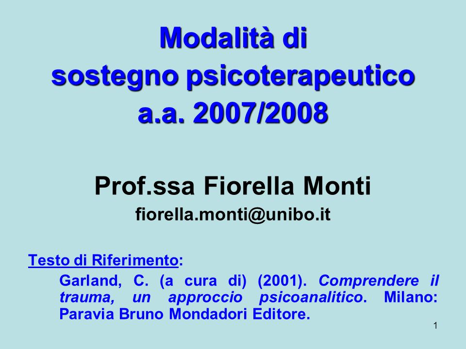 sostegno psicoterapeutico Prof.ssa Fiorella Monti