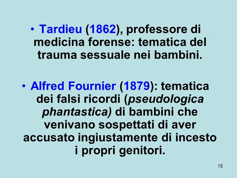 Tardieu (1862), professore di medicina forense: tematica del trauma sessuale nei bambini.