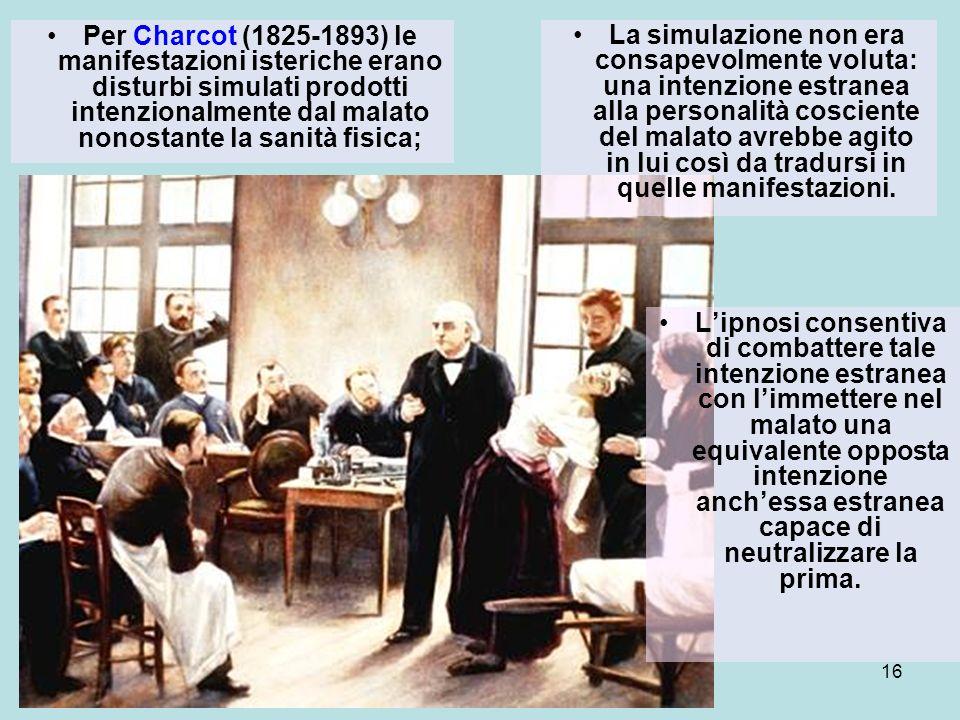Per Charcot (1825-1893) le manifestazioni isteriche erano disturbi simulati prodotti intenzionalmente dal malato nonostante la sanità fisica;