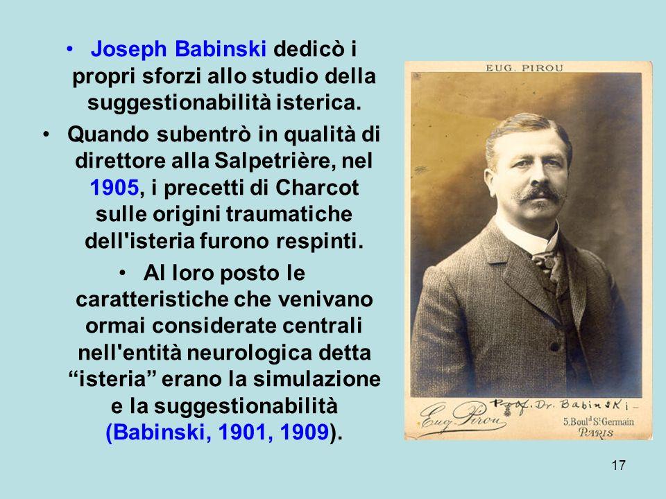 Joseph Babinski dedicò i propri sforzi allo studio della suggestionabilità isterica.