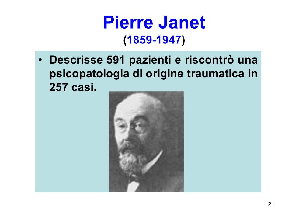 Pierre Janet (1859-1947) Descrisse 591 pazienti e riscontrò una psicopatologia di origine traumatica in 257 casi.