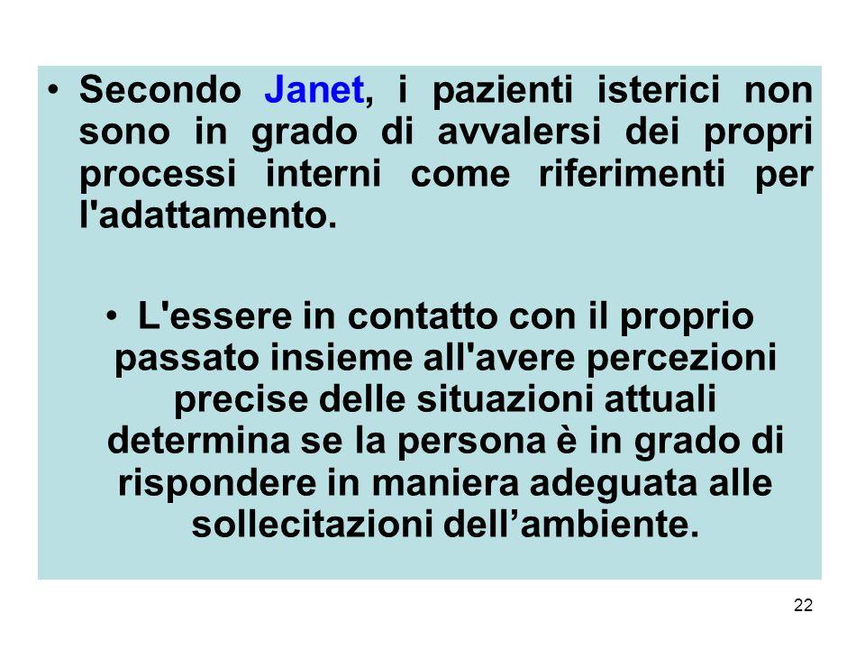 Secondo Janet, i pazienti isterici non sono in grado di avvalersi dei propri processi interni come riferimenti per l adattamento.