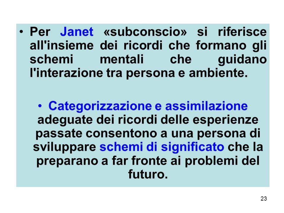 Per Janet «subconscio» si riferisce all insieme dei ricordi che formano gli schemi mentali che guidano l interazione tra persona e ambiente.
