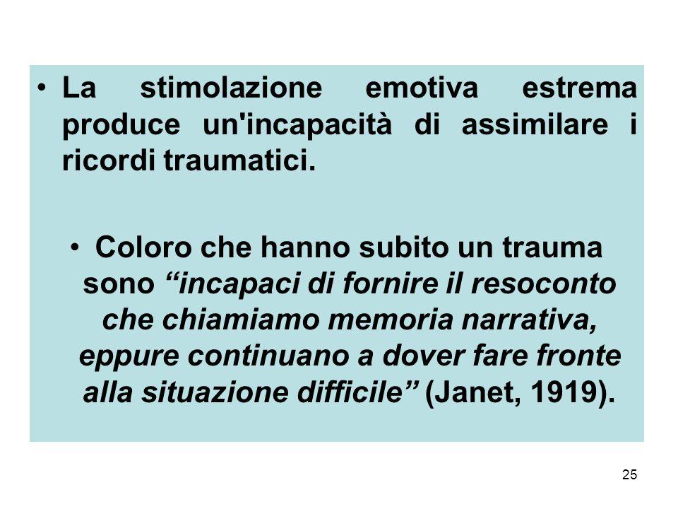 La stimolazione emotiva estrema produce un incapacità di assimilare i ricordi traumatici.