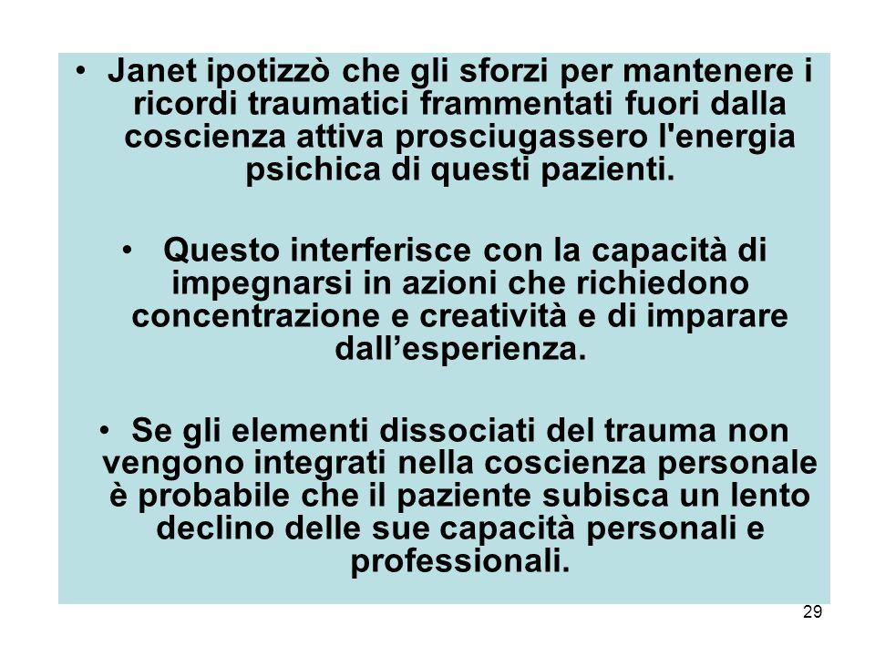 Janet ipotizzò che gli sforzi per mantenere i ricordi traumatici frammentati fuori dalla coscienza attiva prosciugassero l energia psichica di questi pazienti.
