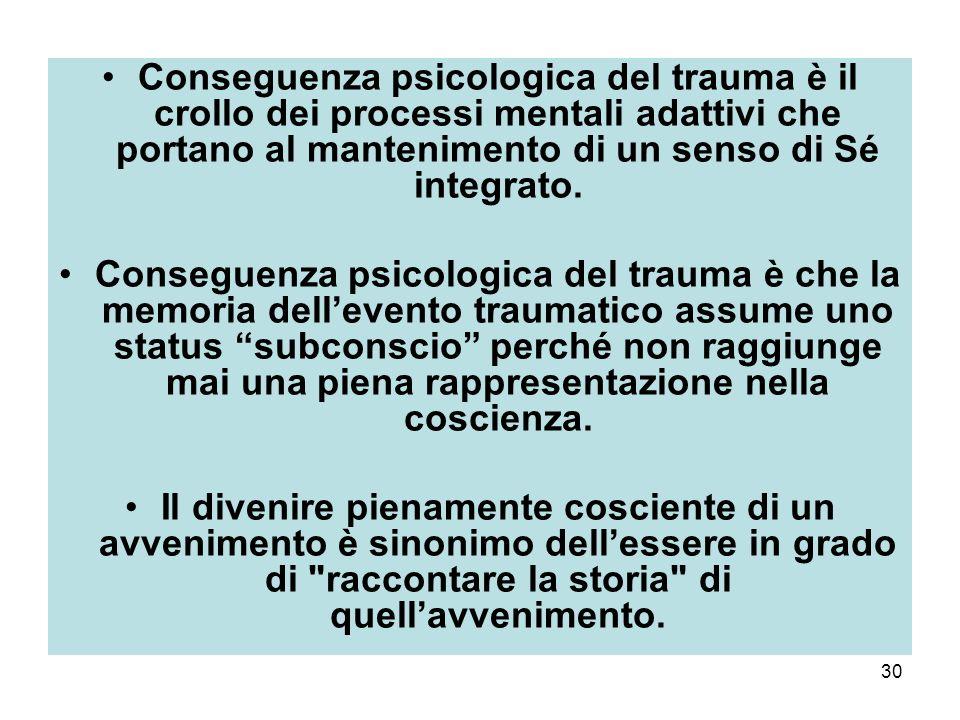 Conseguenza psicologica del trauma è il crollo dei processi mentali adattivi che portano al mantenimento di un senso di Sé integrato.