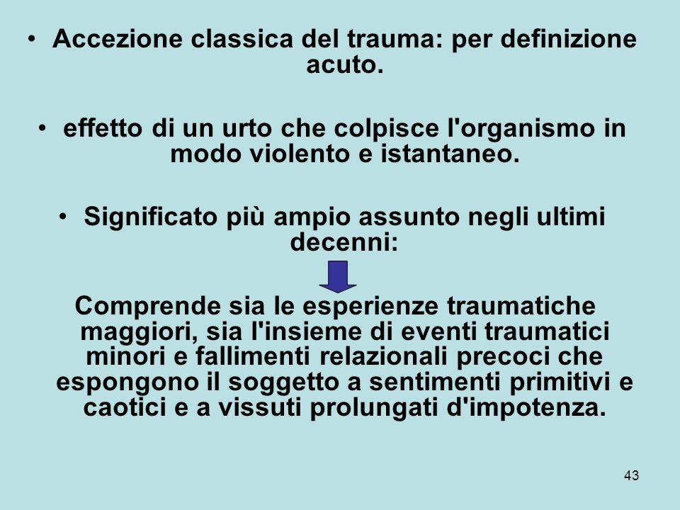 Accezione classica del trauma: per definizione acuto.