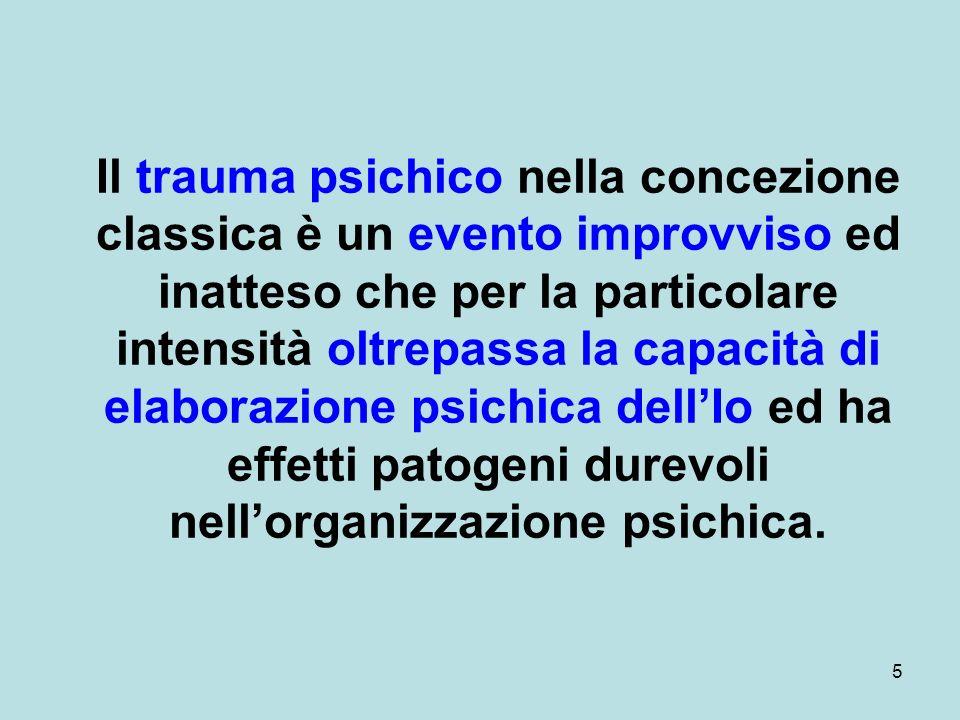 Il trauma psichico nella concezione classica è un evento improvviso ed inatteso che per la particolare intensità oltrepassa la capacità di elaborazione psichica dell'Io ed ha effetti patogeni durevoli nell'organizzazione psichica.
