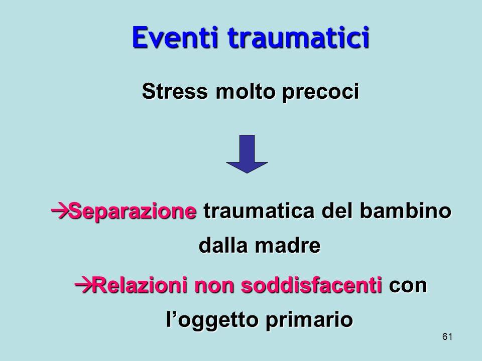 Eventi traumatici Stress molto precoci