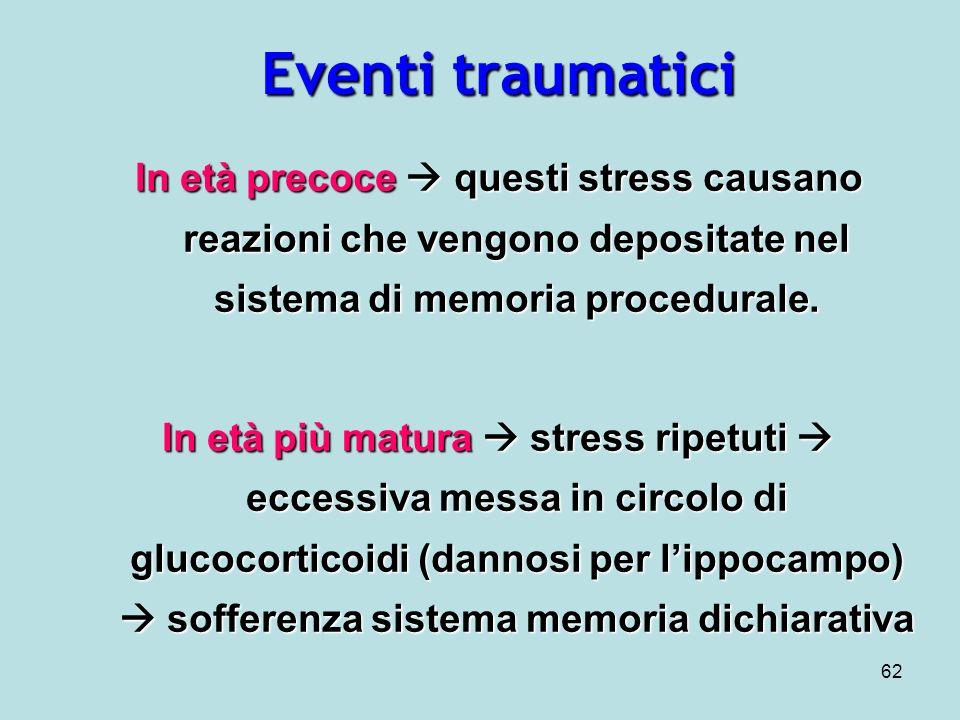 Eventi traumatici In età precoce  questi stress causano reazioni che vengono depositate nel sistema di memoria procedurale.