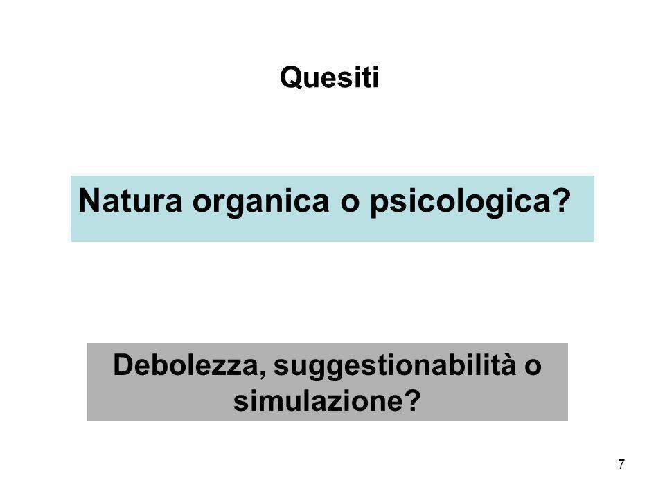 Debolezza, suggestionabilità o simulazione