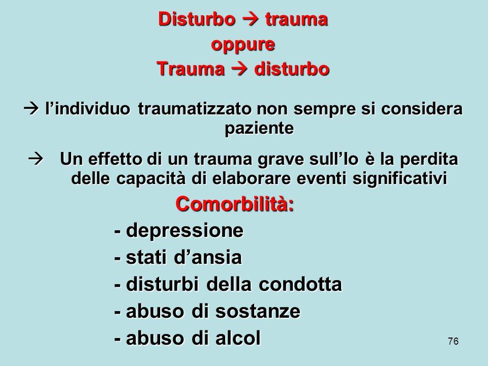  l'individuo traumatizzato non sempre si considera paziente