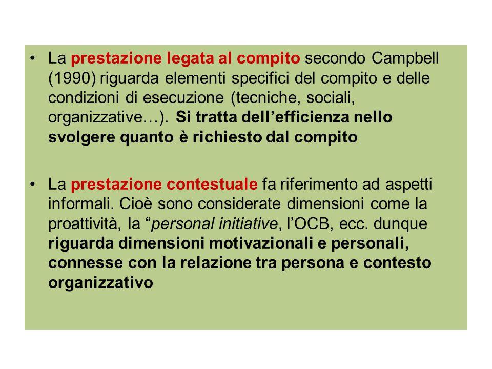 La prestazione legata al compito secondo Campbell (1990) riguarda elementi specifici del compito e delle condizioni di esecuzione (tecniche, sociali, organizzative…). Si tratta dell'efficienza nello svolgere quanto è richiesto dal compito