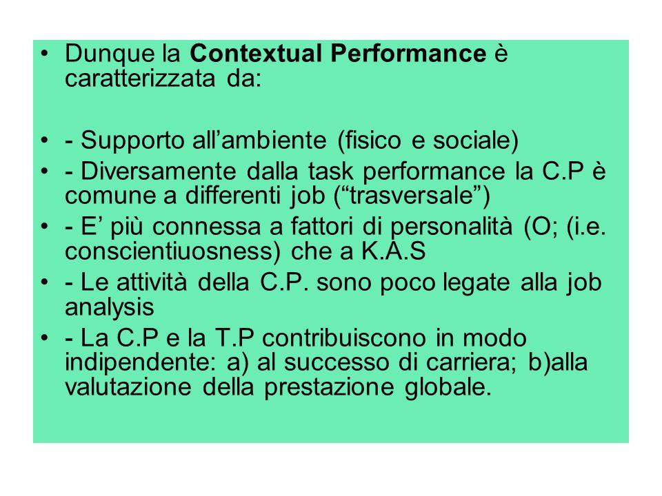 Dunque la Contextual Performance è caratterizzata da: