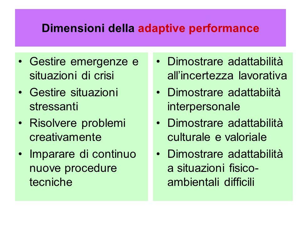 Dimensioni della adaptive performance