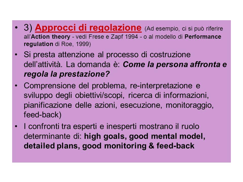 3) Approcci di regolazione (Ad esempio, ci si può riferire all'Action theory - vedi Frese e Zapf 1994 - o al modello di Performance regulation di Roe, 1999)