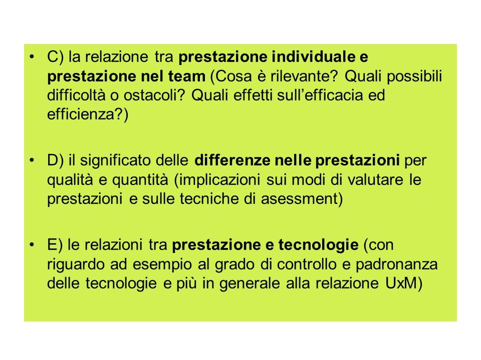 C) la relazione tra prestazione individuale e prestazione nel team (Cosa è rilevante Quali possibili difficoltà o ostacoli Quali effetti sull'efficacia ed efficienza )