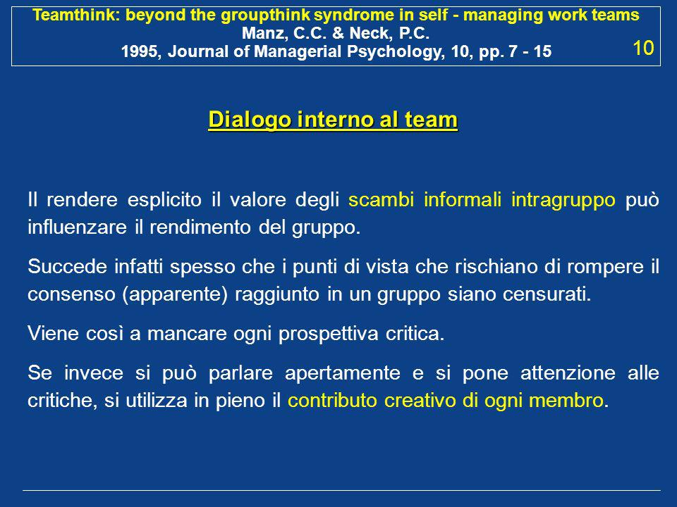 Dialogo interno al team