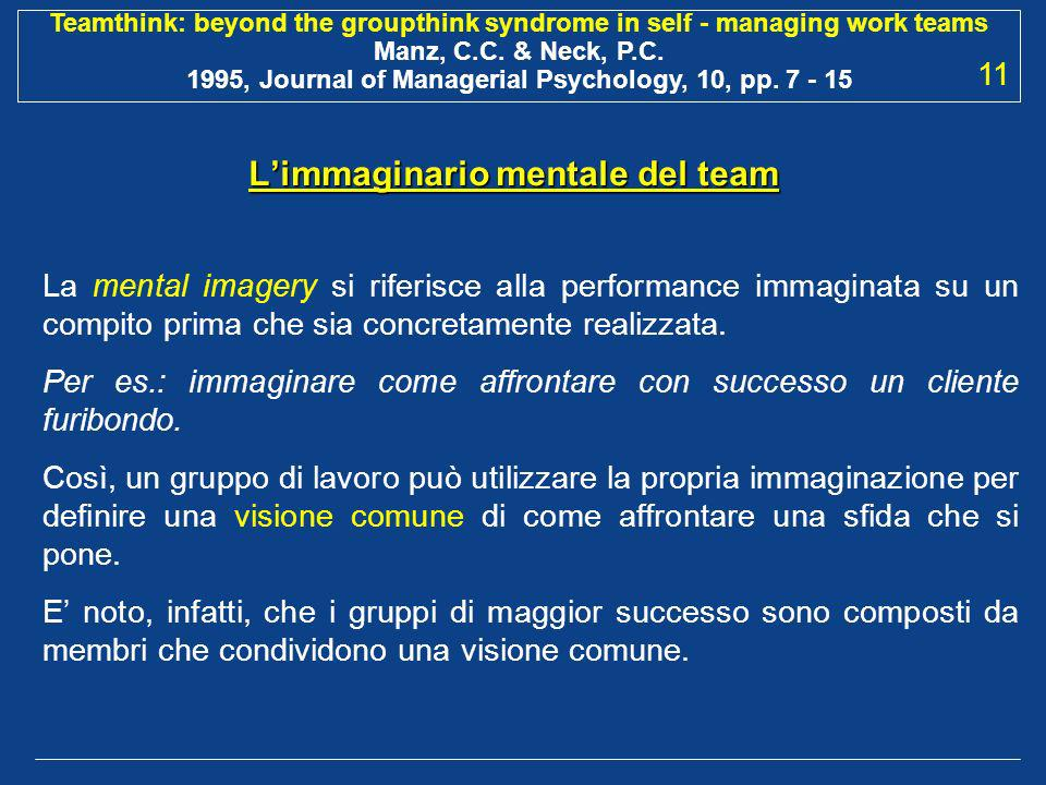 L'immaginario mentale del team