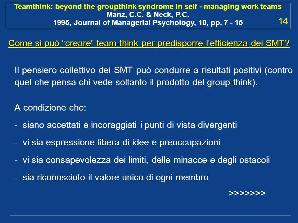 Come si può creare team-think per predisporre l'efficienza dei SMT
