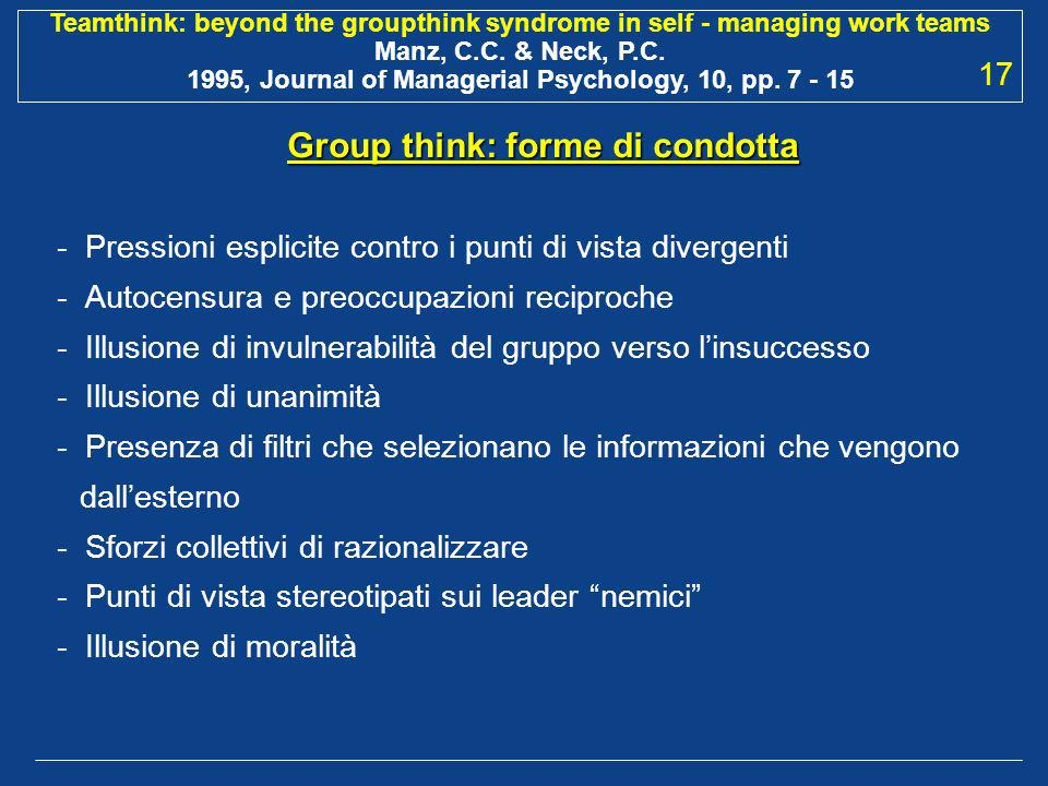 Group think: forme di condotta