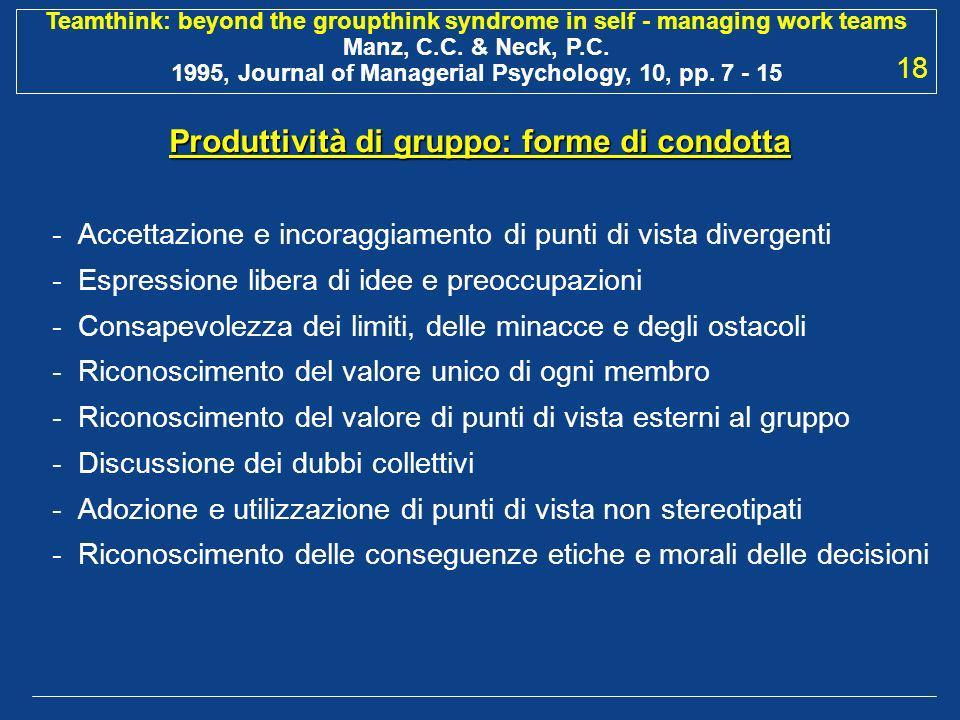 Produttività di gruppo: forme di condotta