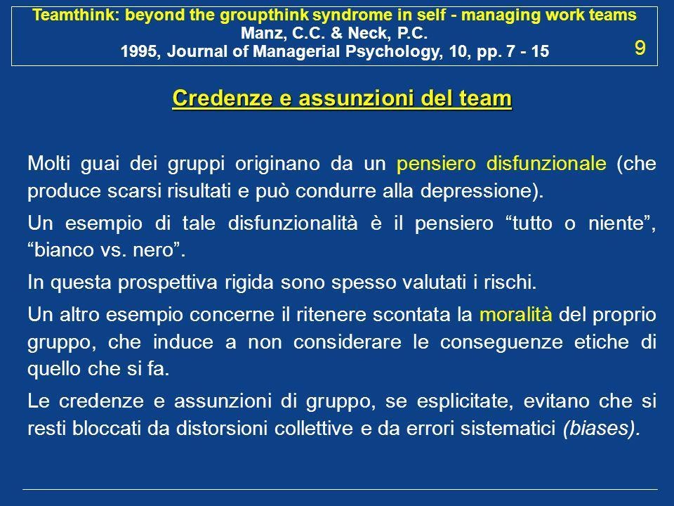 Credenze e assunzioni del team