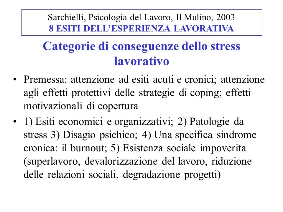 Categorie di conseguenze dello stress lavorativo