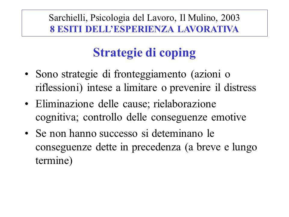 Sarchielli, Psicologia del Lavoro, Il Mulino, 2003 8 ESITI DELL'ESPERIENZA LAVORATIVA