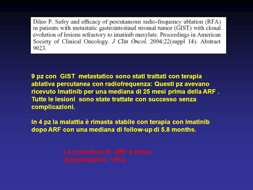 9 pz con GIST metastatico sono stati trattati con terapia ablativa percutanea con radiofrequenza: Questi pz avevano ricevuto Imatinib per una mediana di 25 mesi prima della ARF . Tutte le lesioni sono state trattate con successo senza complicazioni.