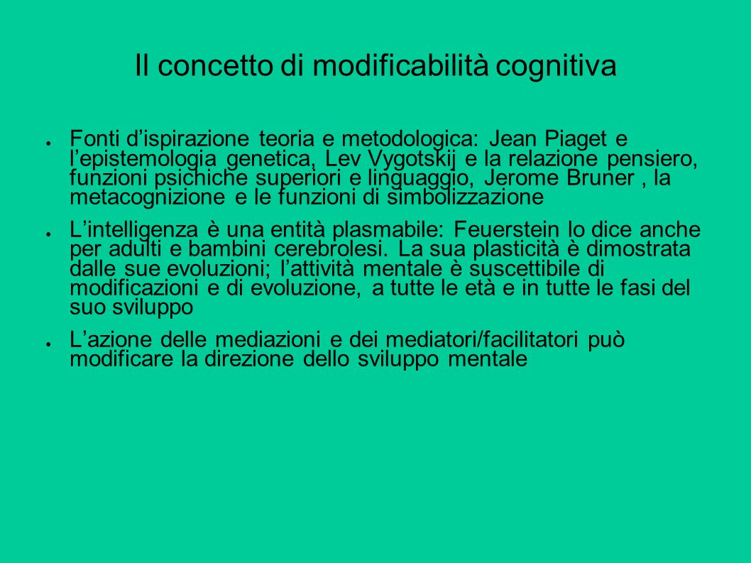 Il concetto di modificabilità cognitiva