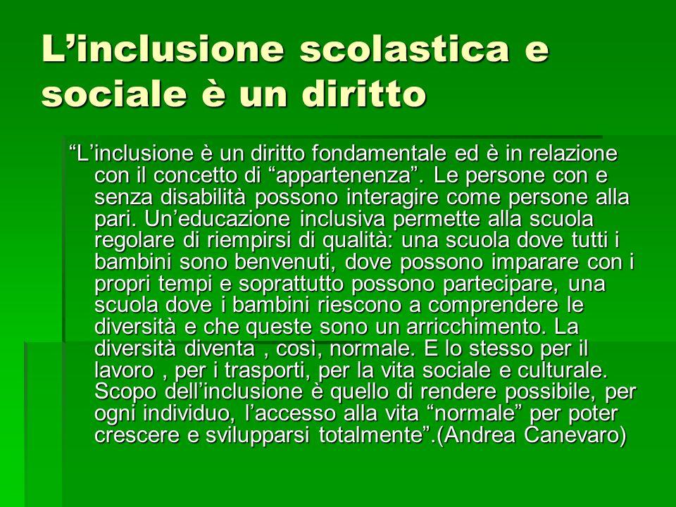 L'inclusione scolastica e sociale è un diritto