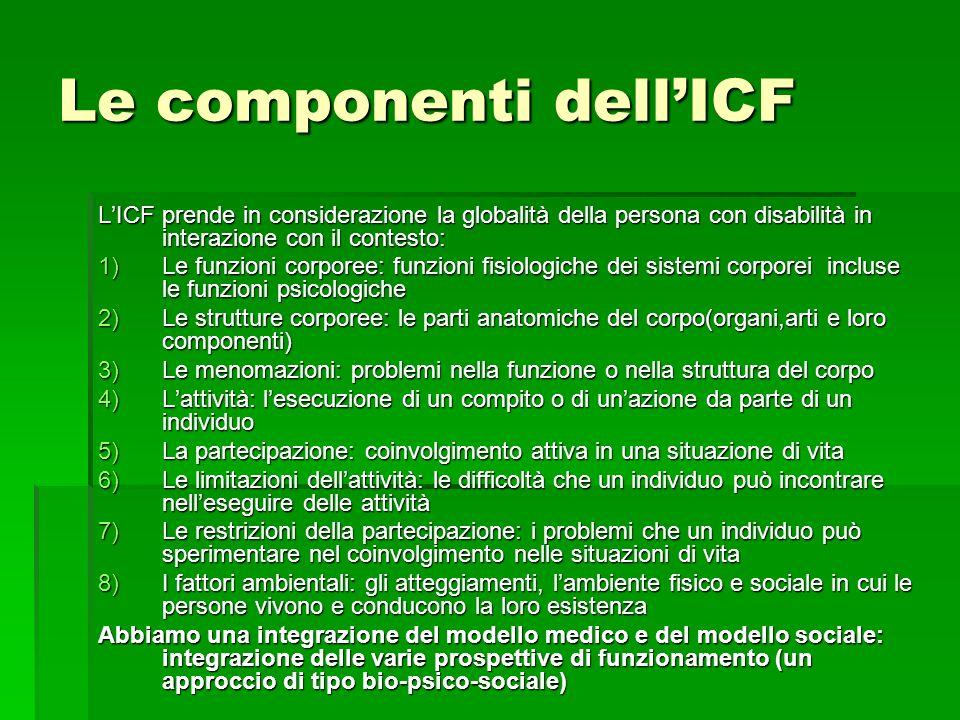 Le componenti dell'ICF