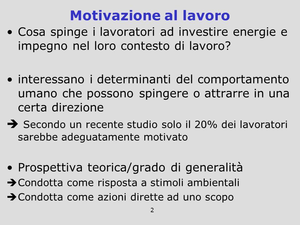 Motivazione al lavoro Cosa spinge i lavoratori ad investire energie e impegno nel loro contesto di lavoro