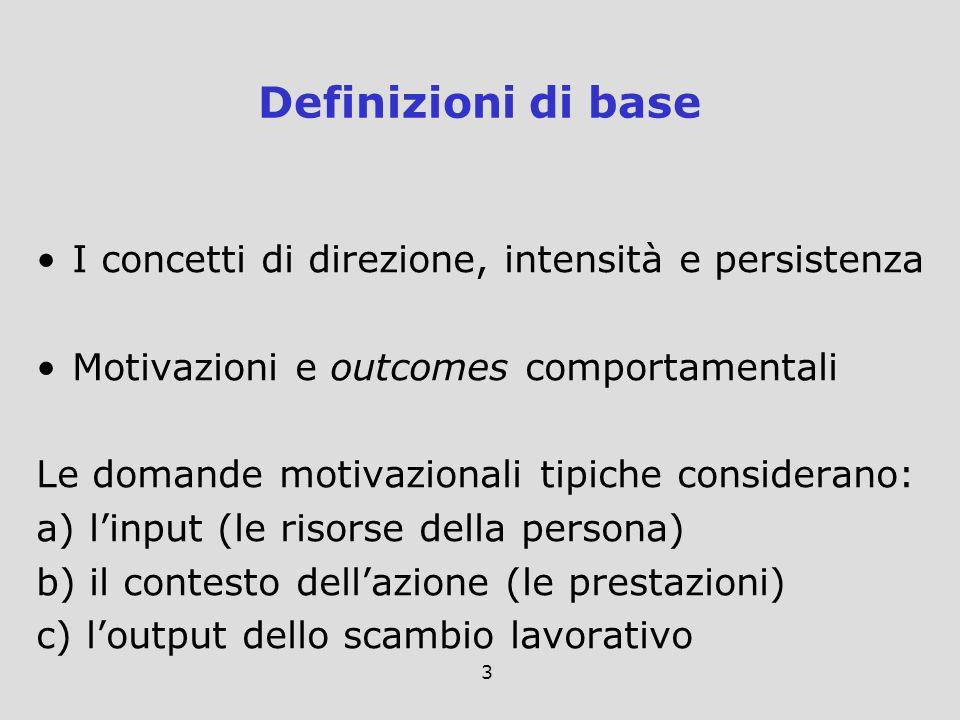 Definizioni di base I concetti di direzione, intensità e persistenza