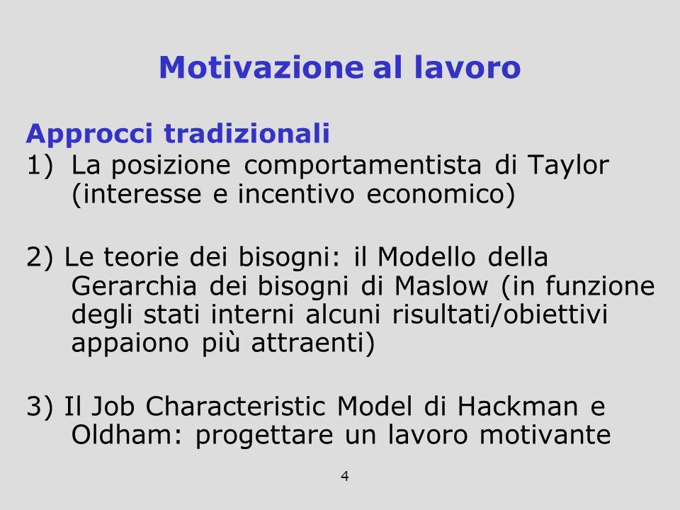 Motivazione al lavoro Approcci tradizionali