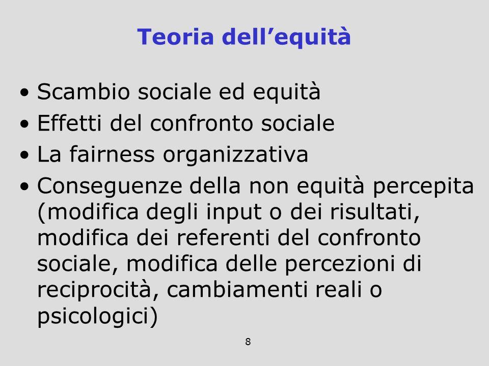 Teoria dell'equità Scambio sociale ed equità. Effetti del confronto sociale. La fairness organizzativa.