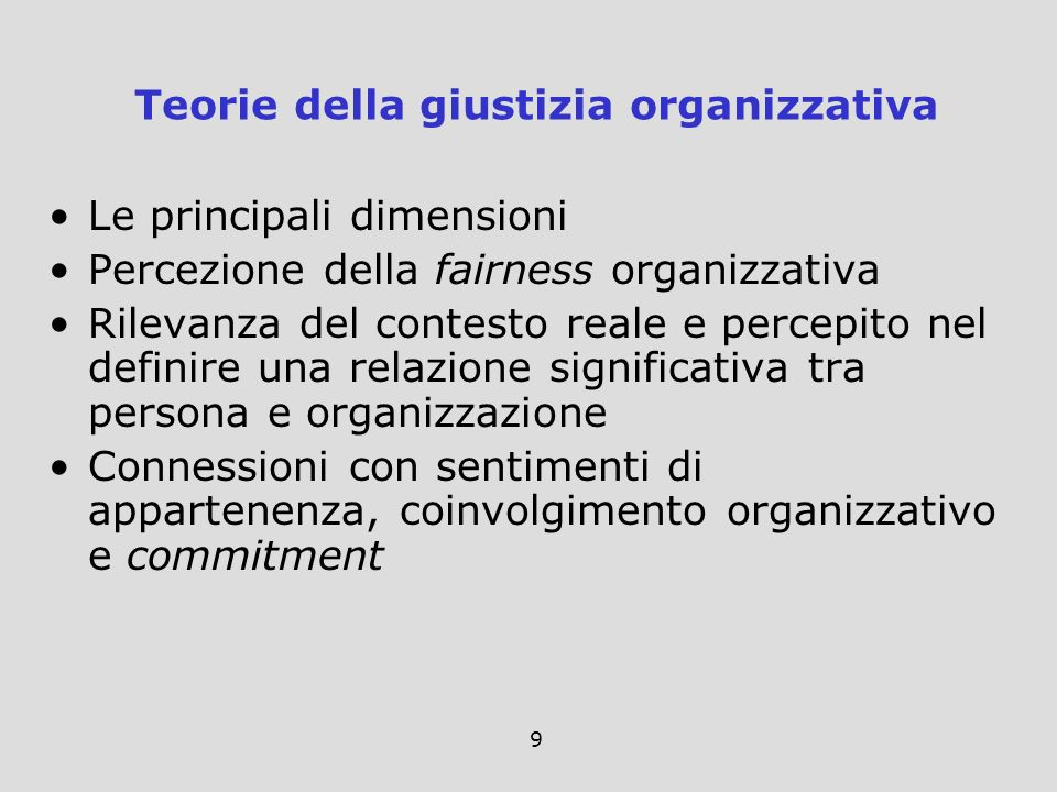 Teorie della giustizia organizzativa
