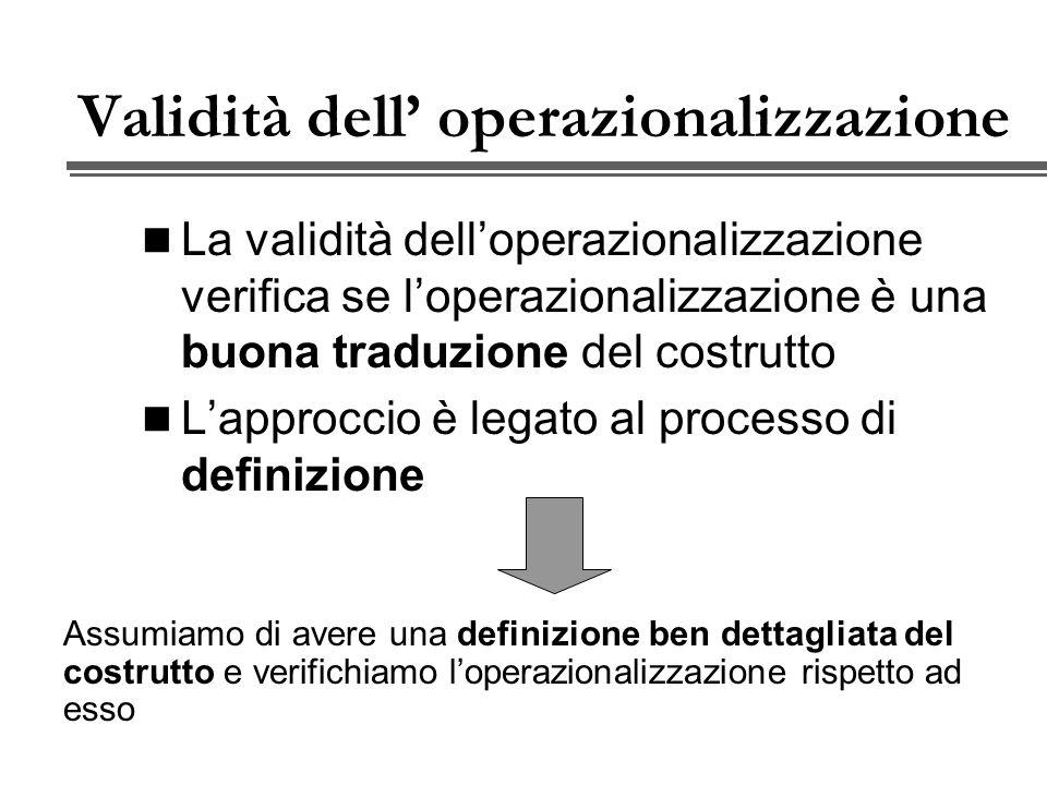 Validità dell' operazionalizzazione