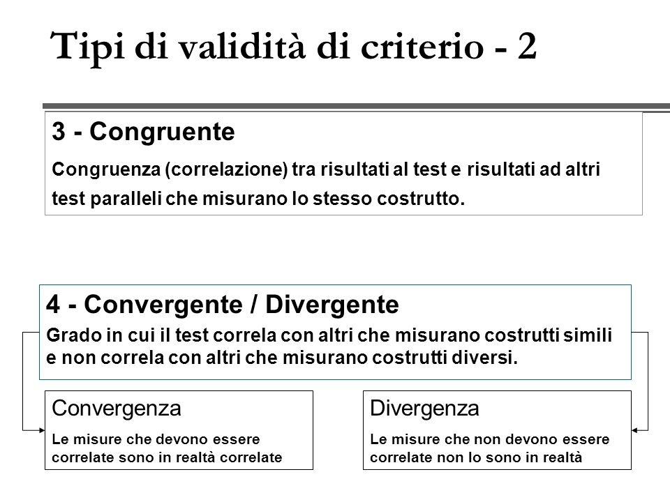 Tipi di validità di criterio - 2