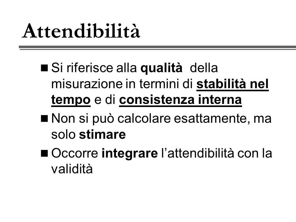 Attendibilità Si riferisce alla qualità della misurazione in termini di stabilità nel tempo e di consistenza interna.