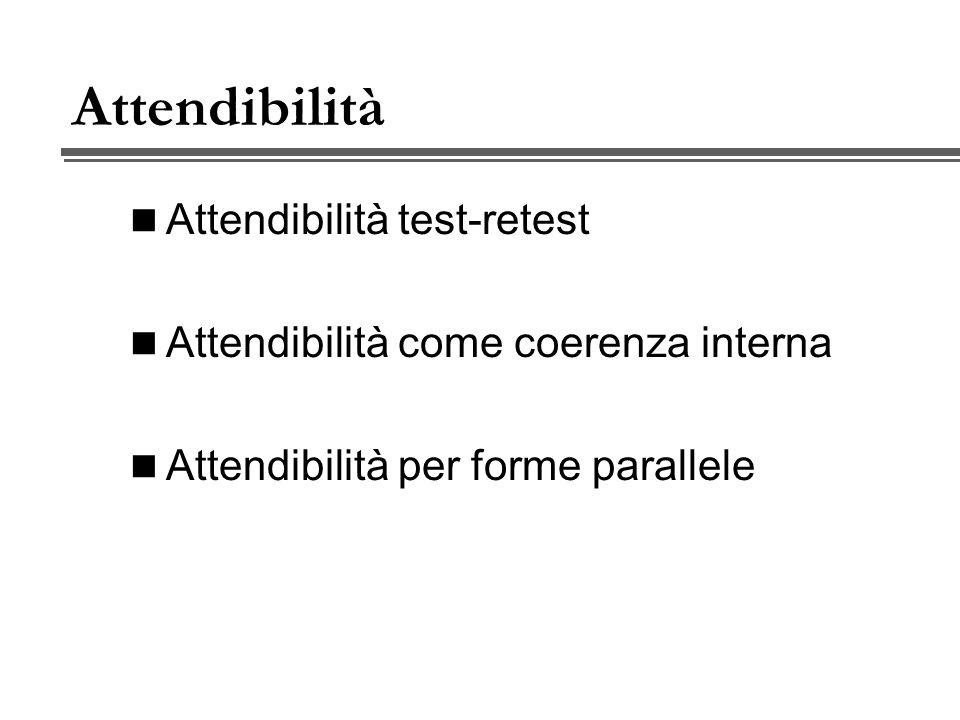 Attendibilità Attendibilità test-retest