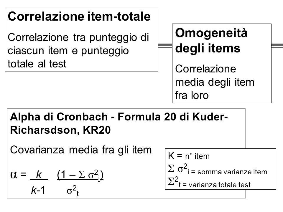 α = k (1 – Σ σ2i) Correlazione item-totale Omogeneità degli items
