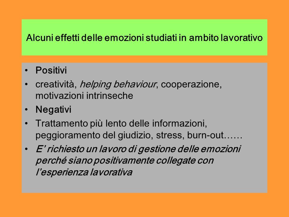 Alcuni effetti delle emozioni studiati in ambito lavorativo